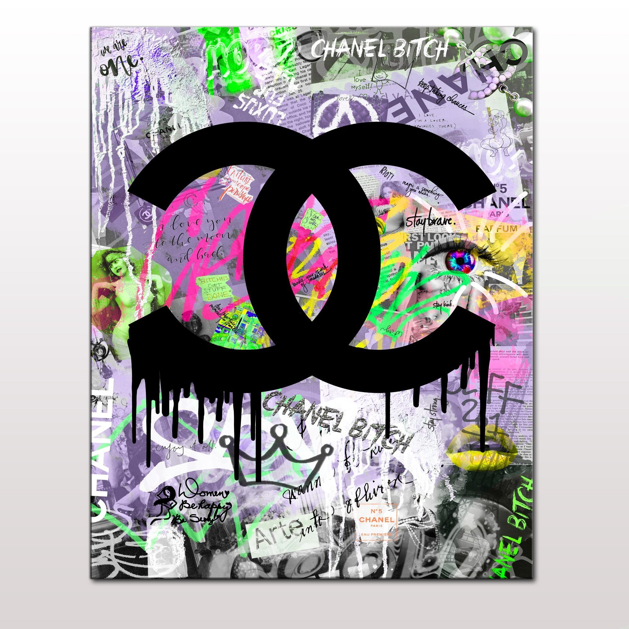 Fashion Chanel  Grunge Solid Giclee Canvas Art Print