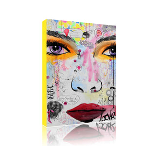 Funky Mix Media Girl Face Canvas Art Print