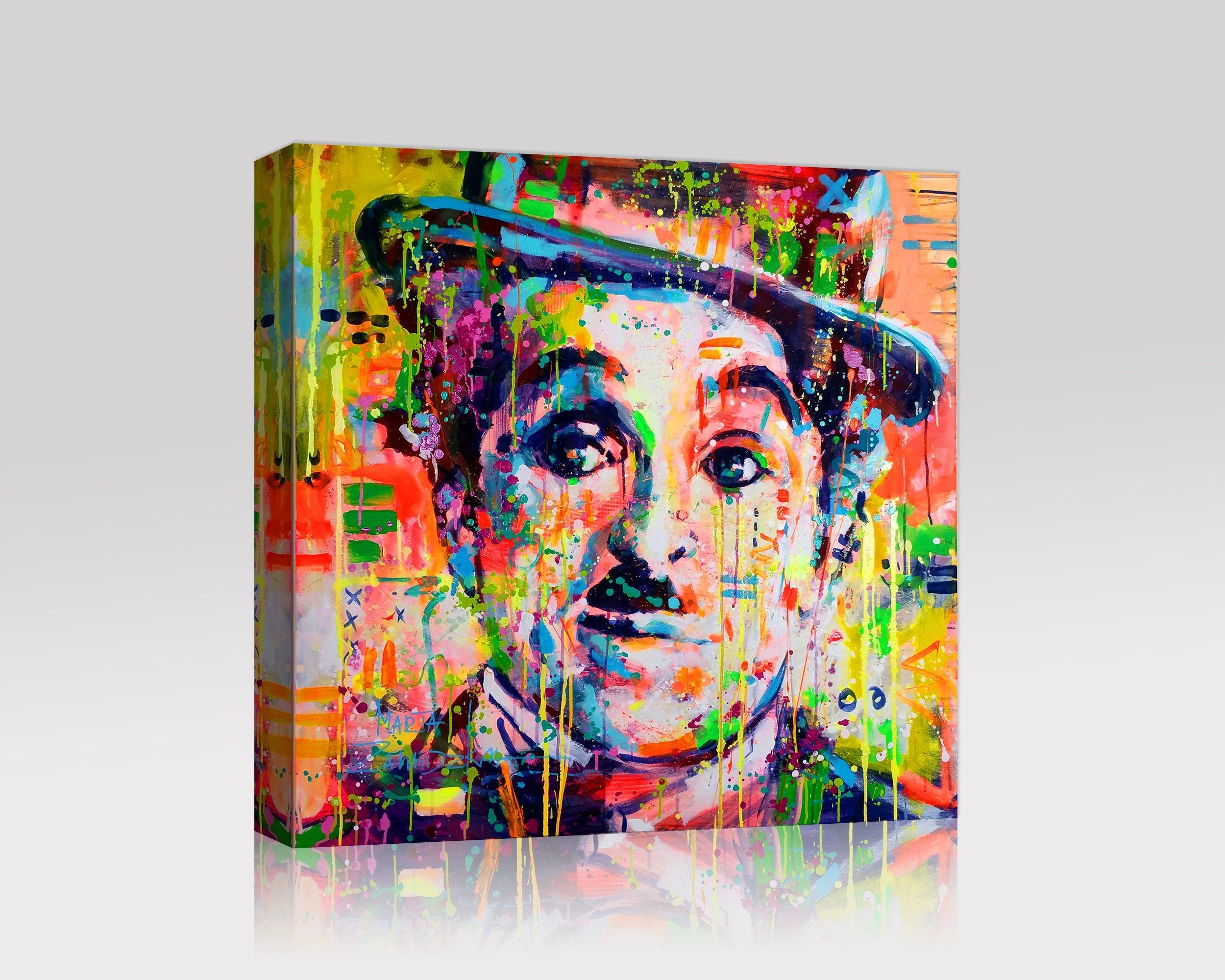 Charlie Chaplain Colorful Giclee Canvas Wall Art Stretched Framed