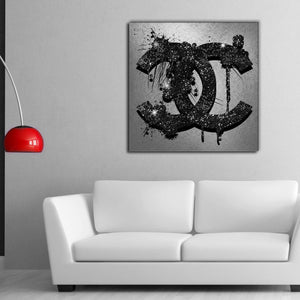 Chanel Glitter Logo Giclée Canvas Print Art - Stretched Framed