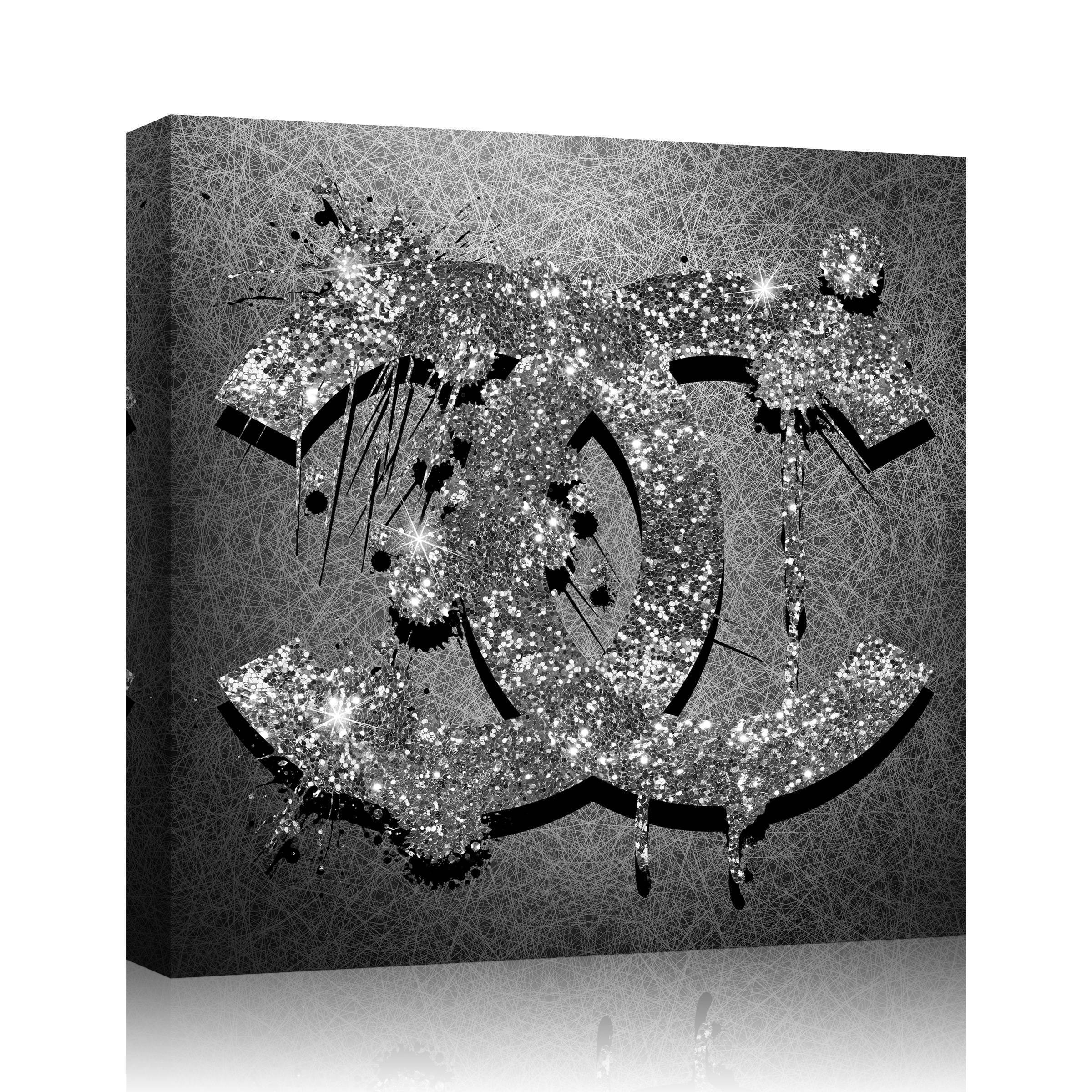 Chanel Logo Glitter Canvas Print Art