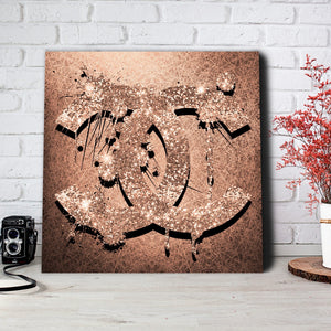 Chanel Glitter Logo in rose gold canvas print art pop art modern art Chanel Art Fashion Art Pop Art