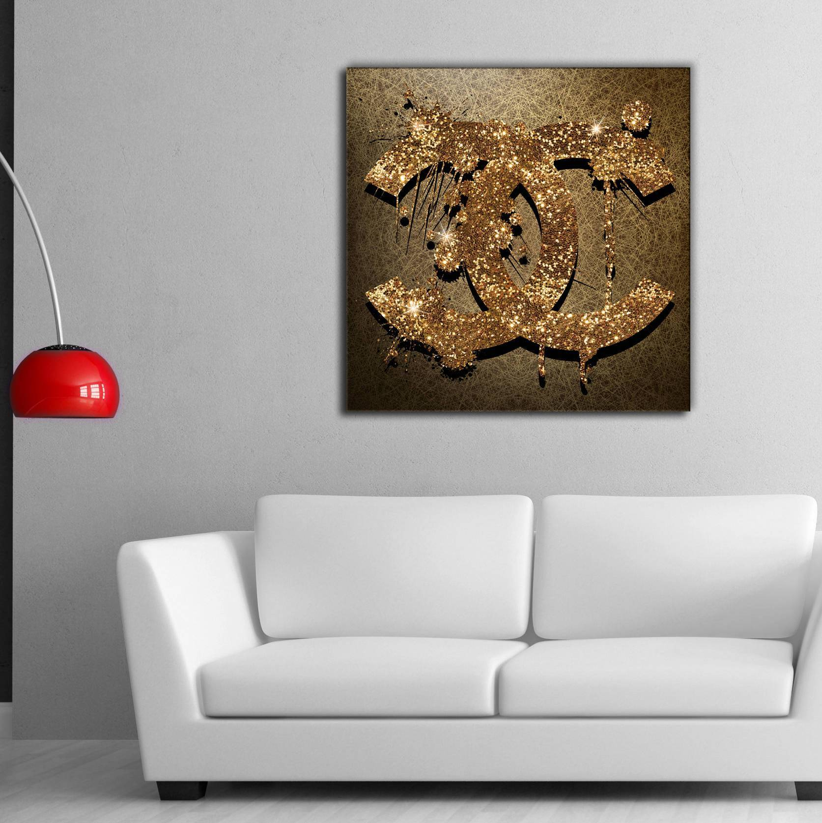 Chanel Gold Logo Canvas Print Art Chanel Art