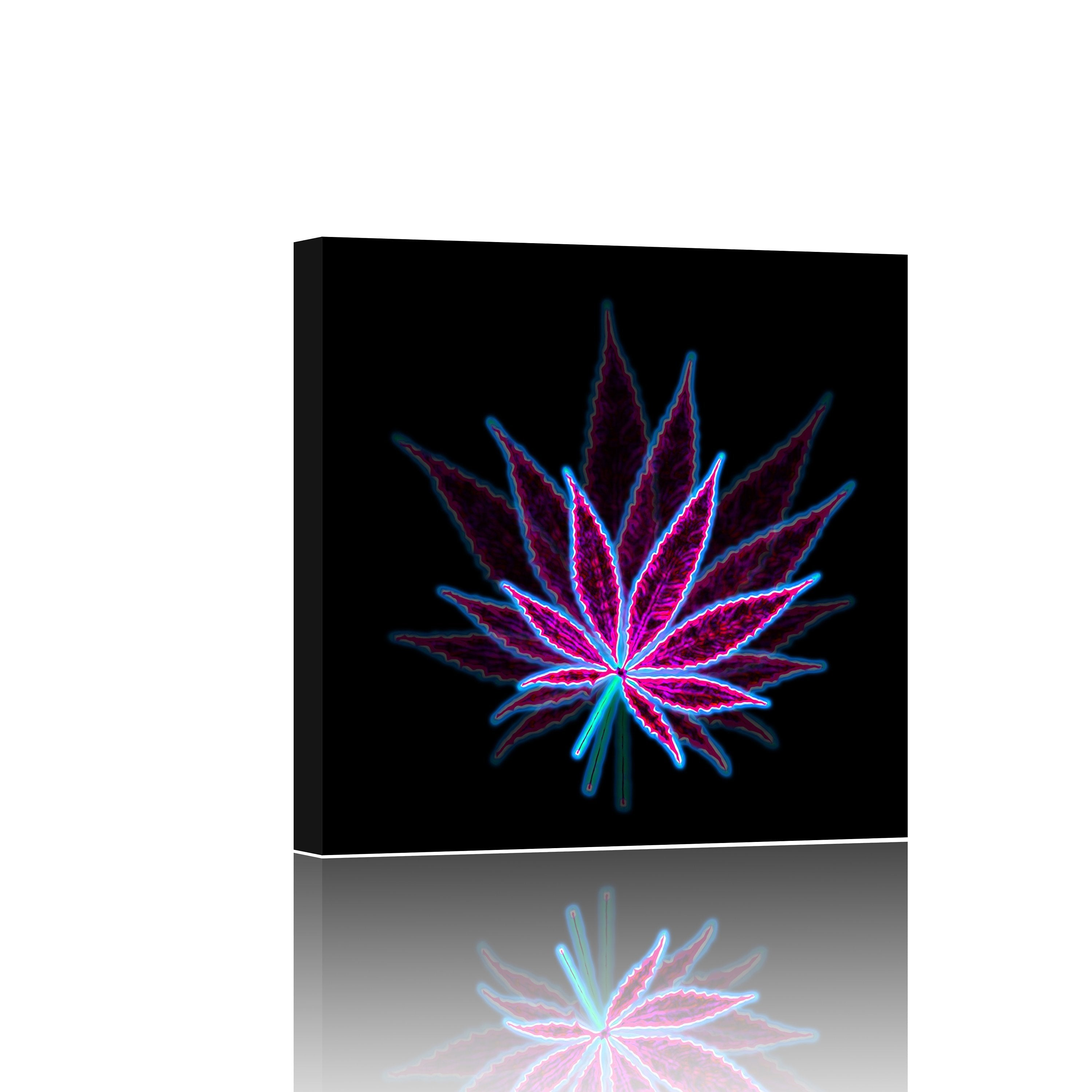 Groovy Neon Leaf Giclee Canvas Wall Art Print
