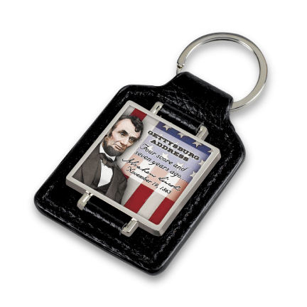 Gettysburg Address Faux Leather Keychain