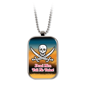 Pirate Silver Tone Metal Dog Tag