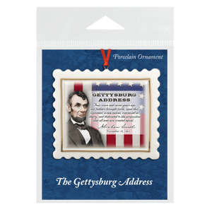 Gettysburg Address Porcelain Scallop Ornament