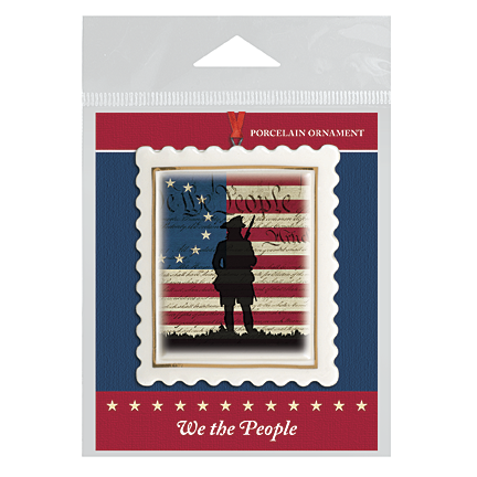 We the People Silhouette Scalloped Ornament