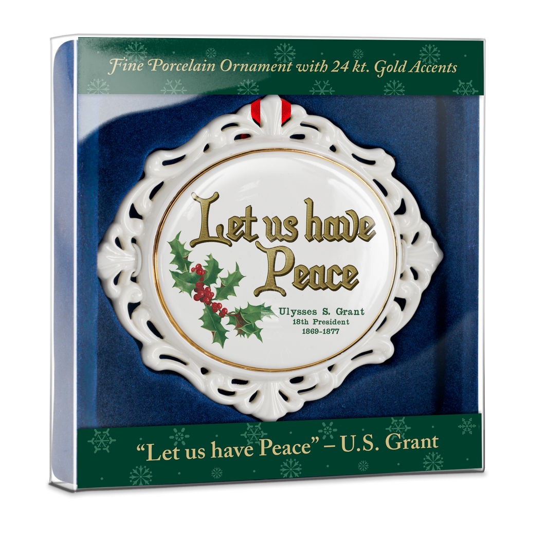 Filigree Ornament, Grant Quote Let Us Have Peace  OD-001-020