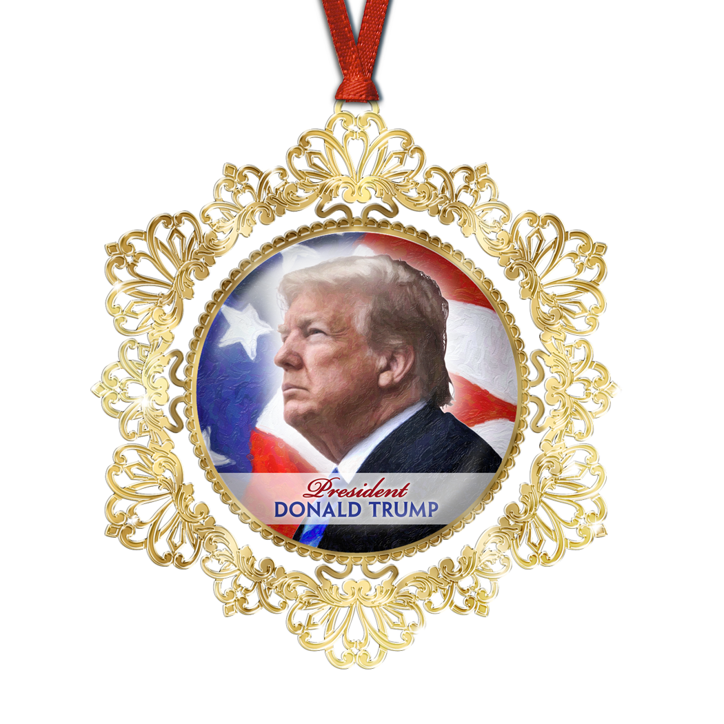 President Donald Trump Golden Etched Ornament OE-001-047