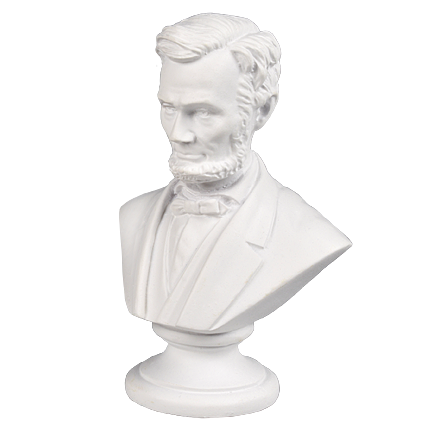 Mini Lincoln 3 inch White Bust