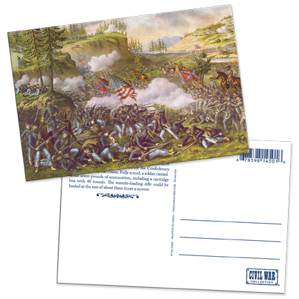 Civil War Battle Scene Lenticular Postcard