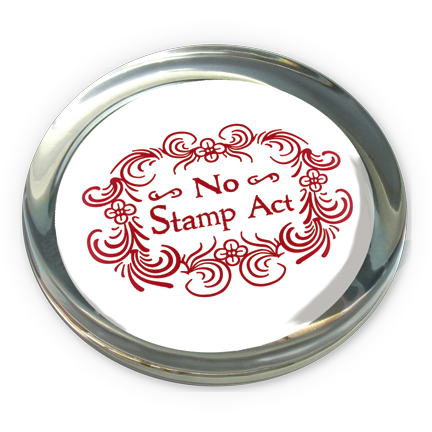 No Stamp Act Glass Paperweight