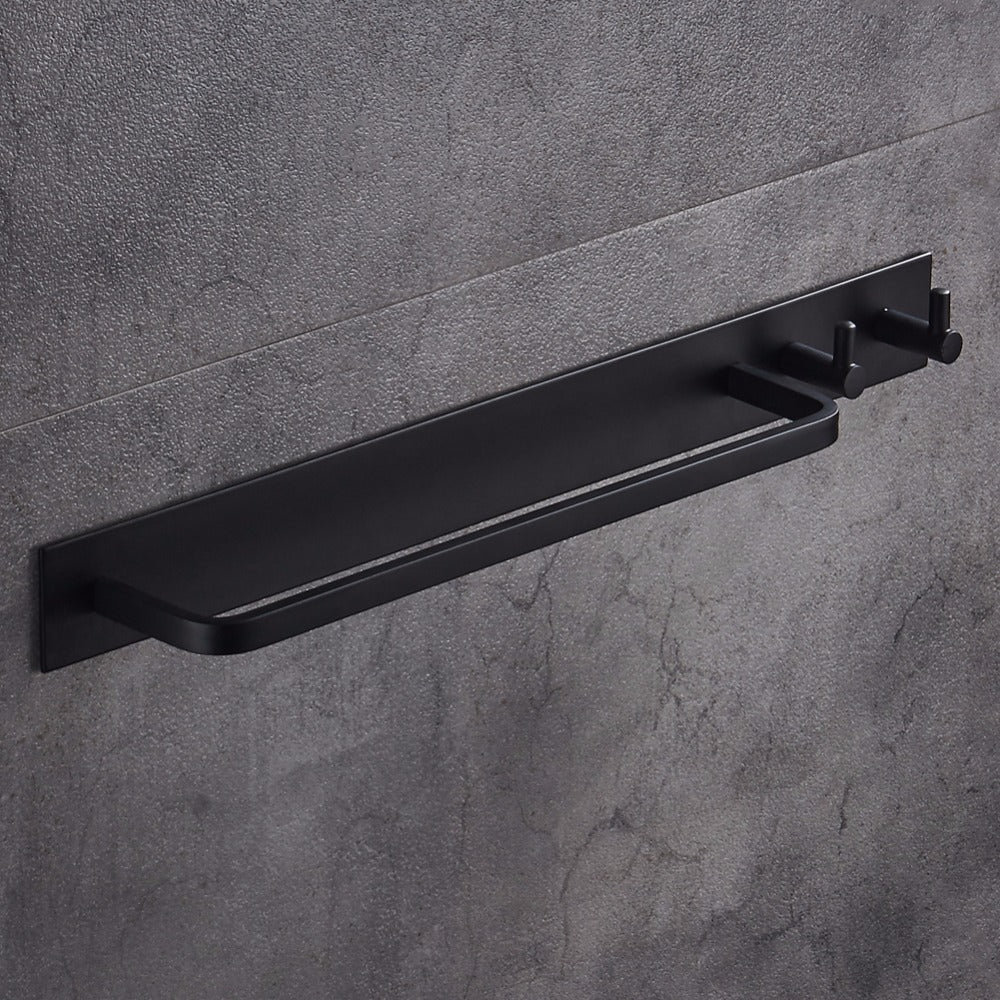 Black Aircraft Aluminum Towel Bar With Double Robe Hooks