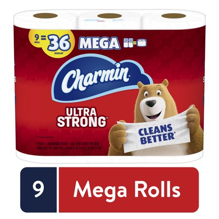 Charmin Ultra Strong 2-Ply Mega Toilet Paper Roll, 9 Count