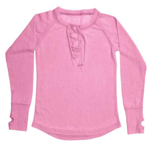 Iscream Pink Lace Up Thermal Shirt-ISCREAM-hip-kid