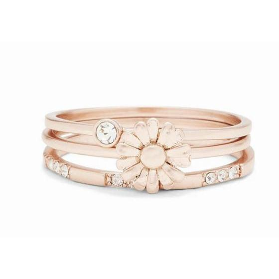 Puravida Daisy Pickin' Ring Stack (Rose Gold)-PURAVIDA-hip-kid