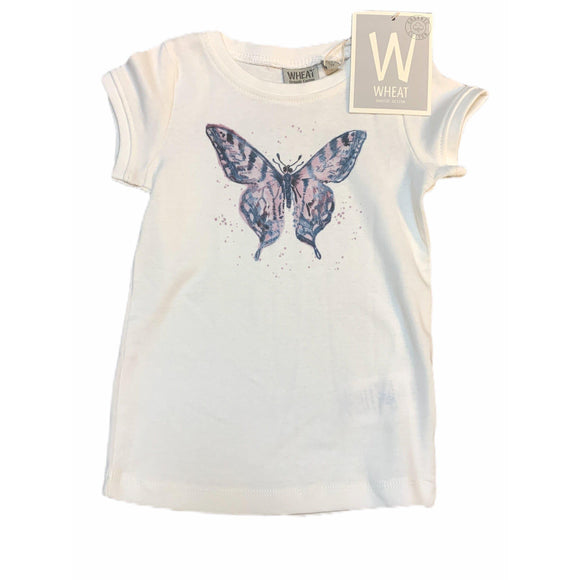 Wheat Watercolor Butterfly Tee-wheat-hip-kid