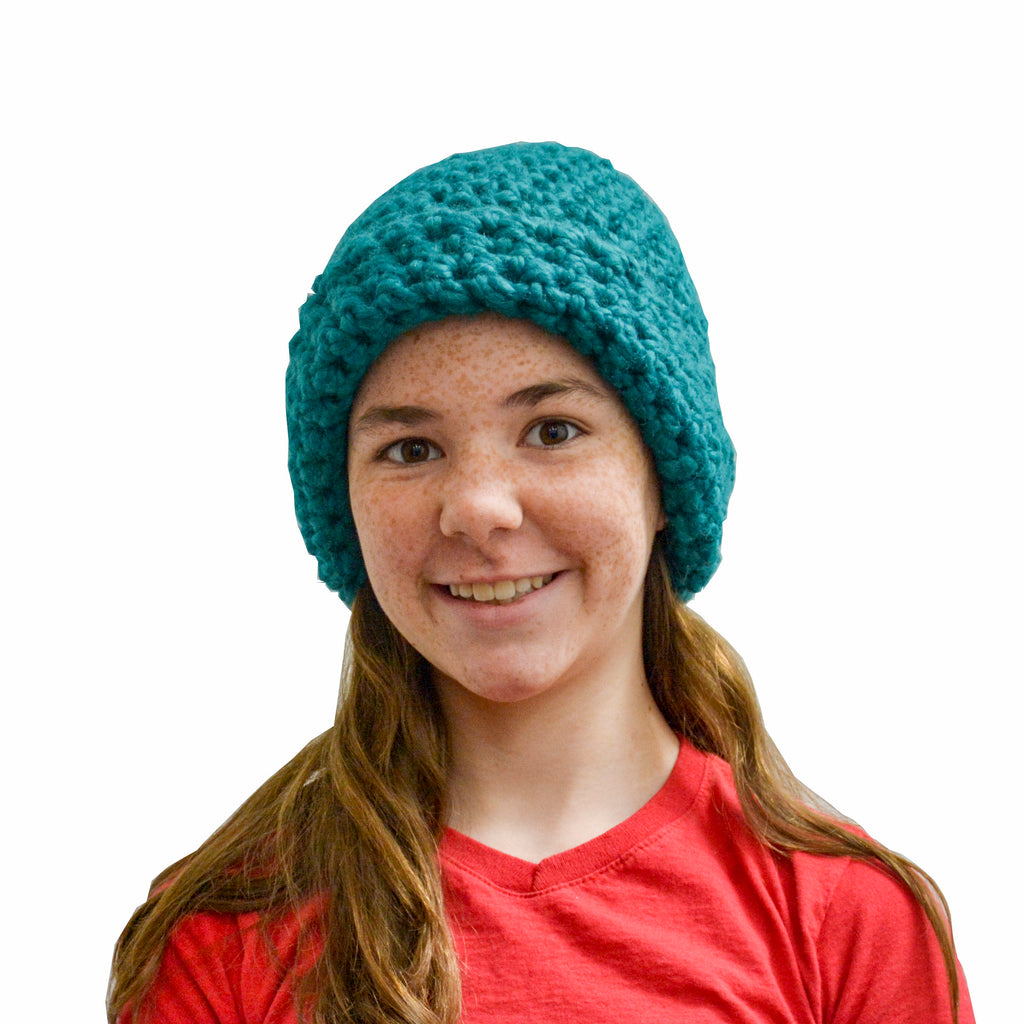 Teal Crochet Hat - Handmade by the Jonas Family