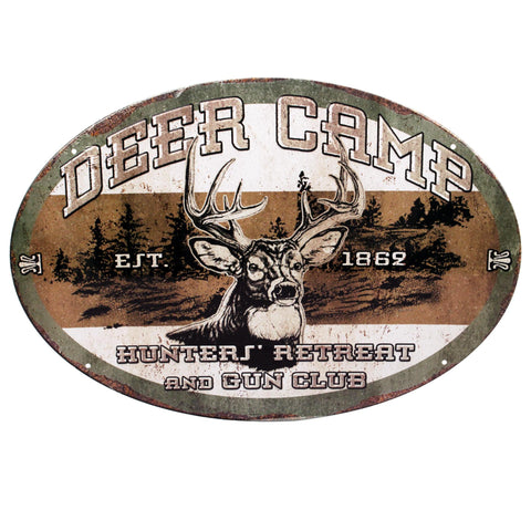 "Tin Sign - Deer Camp, Size 12"" x 17"""
