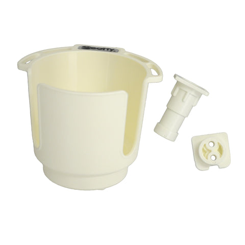 Cup Holder with Rod Holder Post and Bulkhead - White