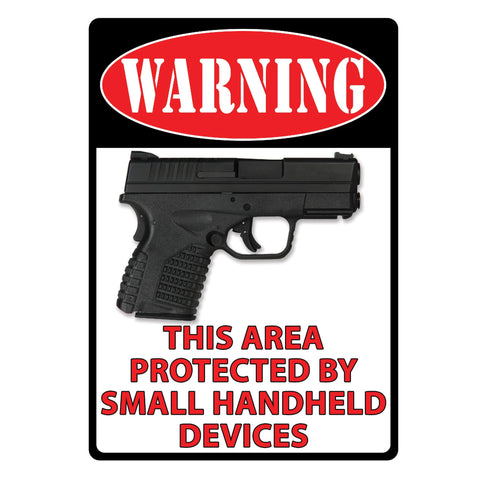"Tin Sign - Warning- This Area Protected, Size 12"" x 17"""