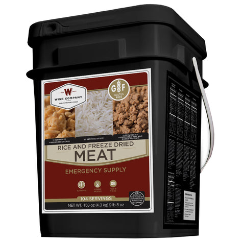 Protein Bucket, Gluten Free Dried Meat and Rice, 104 Servings