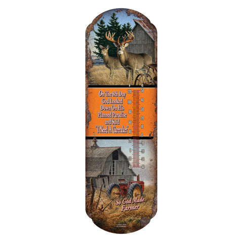 Tin Thermometer - So God Made Farmer