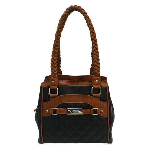 VISM Concealed Carry Braided Tote - Black with Brown Trim
