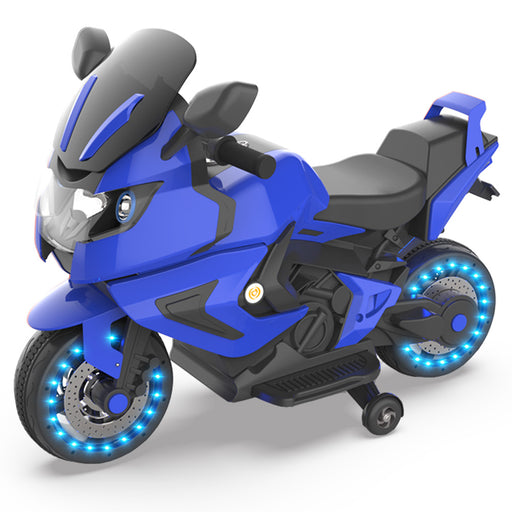 Kids Electric Motorcycle Power Wheels Motorcycle 6V Wheels-Blue