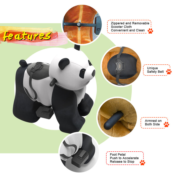 Electric Stuffed Ride on Panda Toy Animals for 3-7 Years Old (6V/7A)