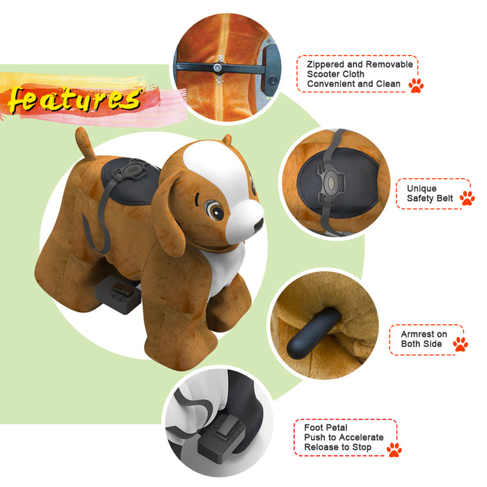 Electric Stuffed Dog Ride on Animals for 3-7 Years Old