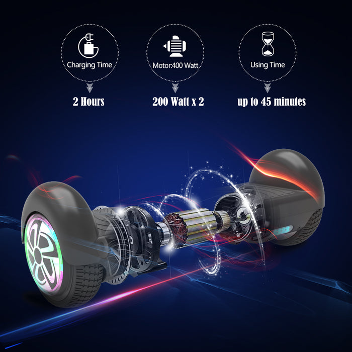 "6.5"" Hoverboard Flash Wheel Self Balancing Electric Scooter UL 2272 Certified-Black"