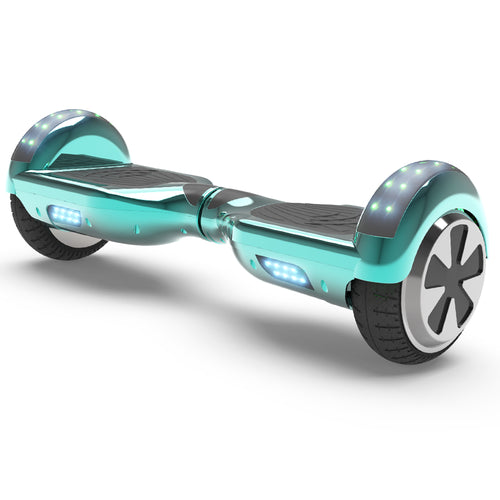 "6.5"" UL Certified Chrome Hoverboard with Bluetooth  -Chrome Turquoise"