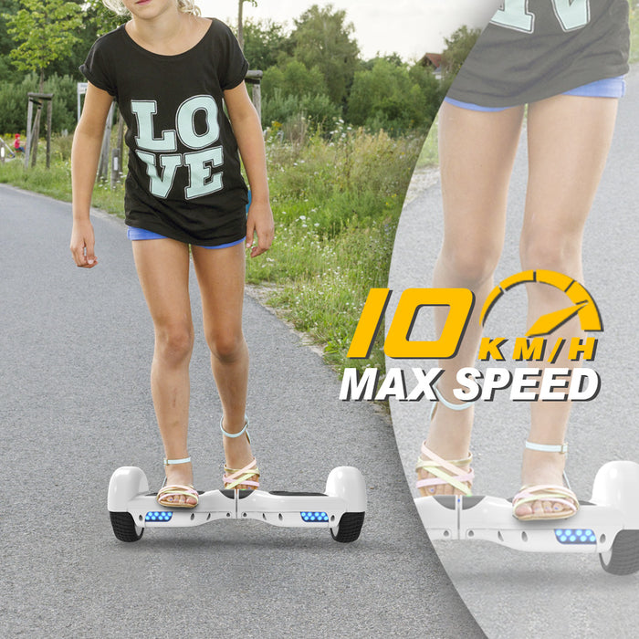 "6.5"" UL 2272 Listed Two-Wheel Self Balancing hoverboard with Bluetooth Speaker/ White"