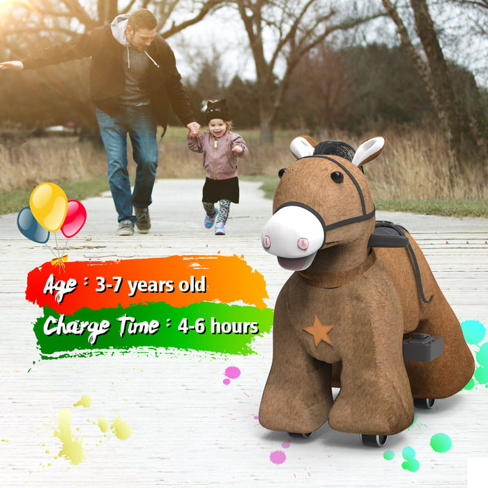 Electric Oversized Stuffed Ride on Horse Toy Animals for 3-7 Years Old (6V/7A)