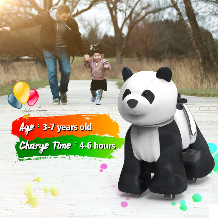 Electric Stuffed Panda Ride on Toy Animals for 3-7 Years Old (6V/7A)