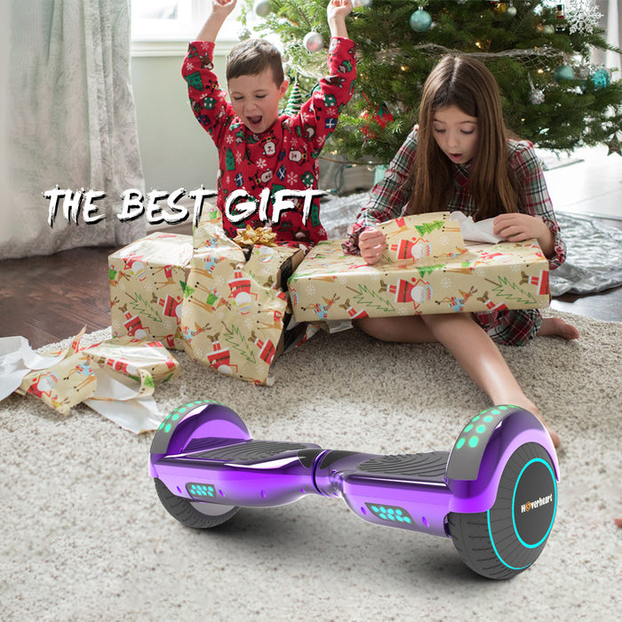 "6.5"" Metallic Bluetooth Kids Hoverboard with LED Lights -Chrome Purple"