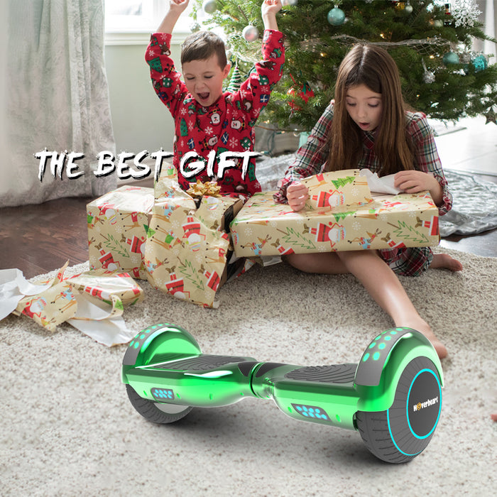 "6.5"" Metallic Bluetooth Kids Hoverboard with LED Lights -Chrome Green"