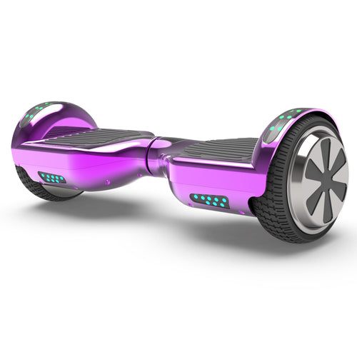 "6.5"" UL Certified Chrome Hoverboard with Bluetooth  -Chrome Purple"