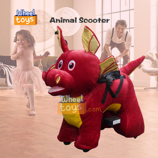 Rechargeable 6V/7A Plush Animal Ride On Toy for Kids,Dragon