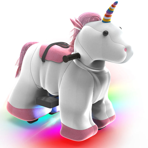 Electric Stuffed Ride on Unicorn Animals for 3-7 Years Old (6V/7A)