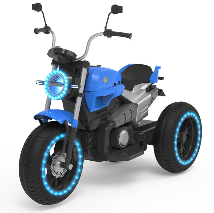 ELECTRIC RIDE ON MOTORCYCLE FOR KIDS - 6V BATTERY POWERED 3 WHEEL-Blue