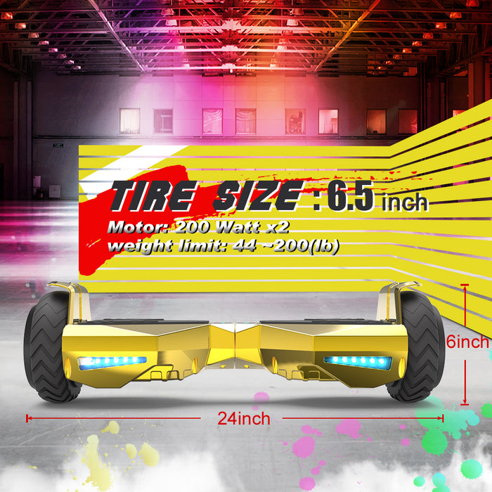 Hoverheart H-Warrior Bluetooth Hoverboard with LED Wheels | Chrome Gold