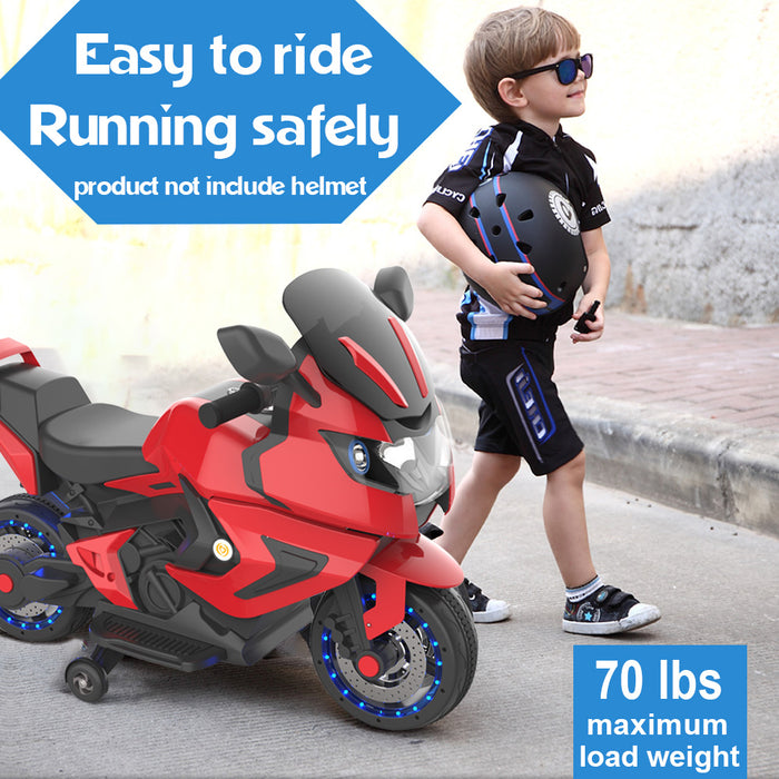 Kids Electric Motorcycle Power Wheels Motorcycle 6V Wheels-Red