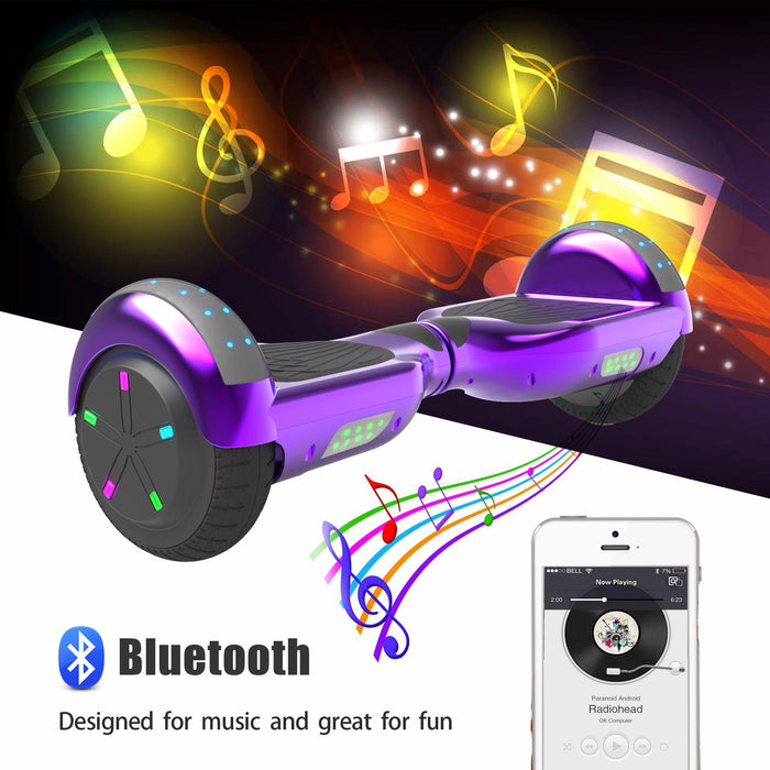 6.5'' Hoverboard  LED STAR FLASHING WHEELS Scooter -Chrome purple