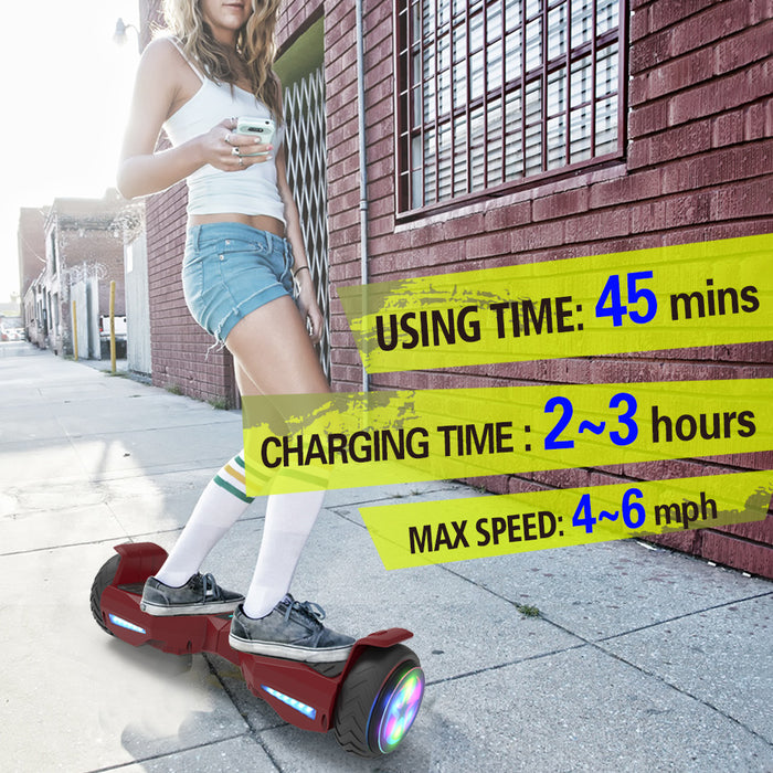"Hoverboard 6.5"" UL 2272 Listed Electric Scooter with LED wheel  / RED"
