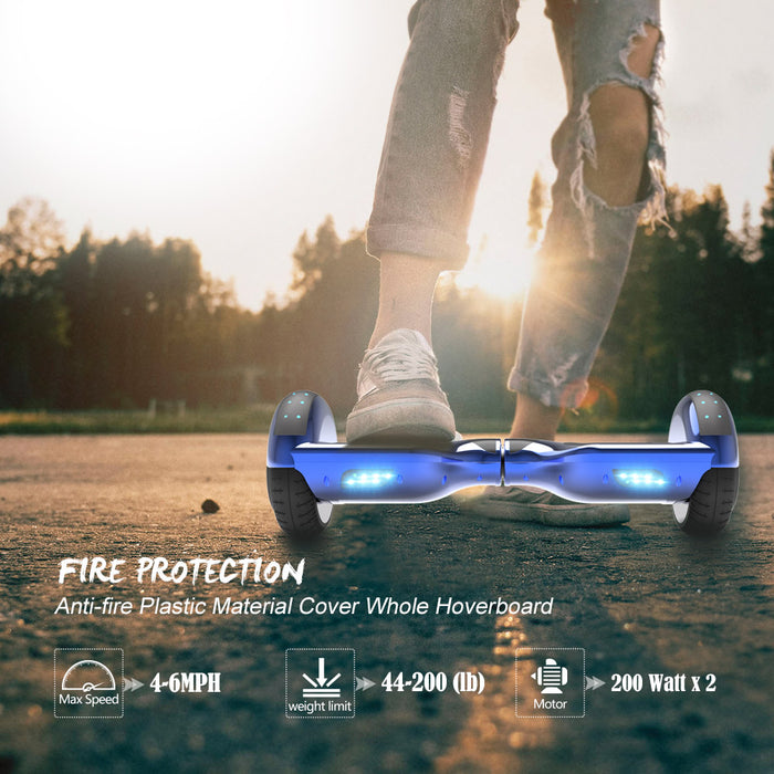 6.5'' Hoverboard  LED STAR FLASHING WHEELS Scooter -Chrome blue