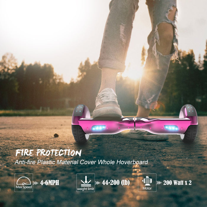 6.5'' Hoverboard  LED STAR FLASHING WHEELS Scooter -Chrome pink