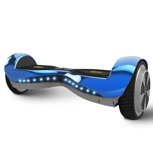 6.5 Inch Hoverboard Blue Chrome With Bluetooth Speaker and Lights